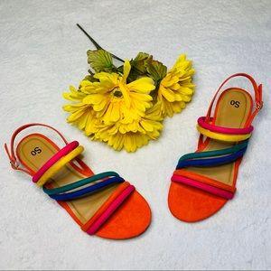 SO Firebrick Strappy Heel Rainbow Sandals